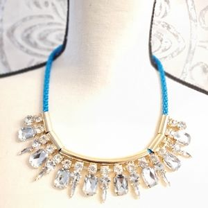 Jewelry - NEW Neon Turquoise Blue Gold Crystal Choker Cord